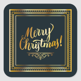 Merry Christmas Golden Script Typography Square Sticker