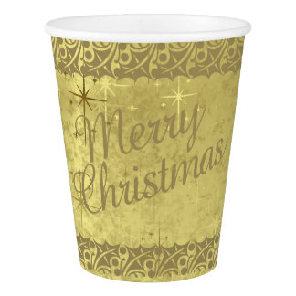 Merry Christmas Golden Stars  Holiday Texture Paper Cup