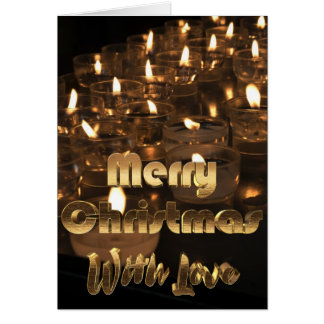 Merry Christmas Golden Typography Candlelight Card