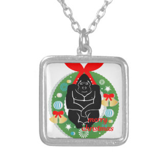 merry christmas gorilla silver plated necklace