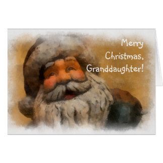 Merry Christmas Granddaughter, Vintage Santa Card