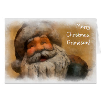 Merry Christmas, Grandson - vintage Santa painting Card