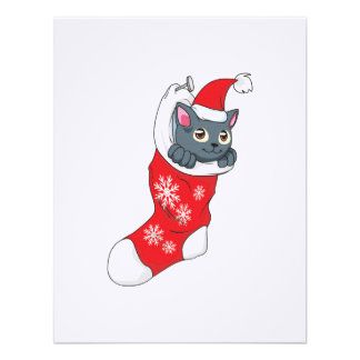 Merry Christmas Gray Kitten Cat Red Stocking Grey Announcements