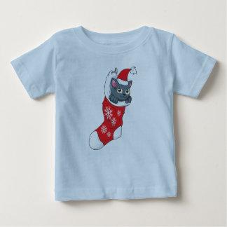 Merry Christmas Gray Kitten Cat Red Stocking Grey Shirt