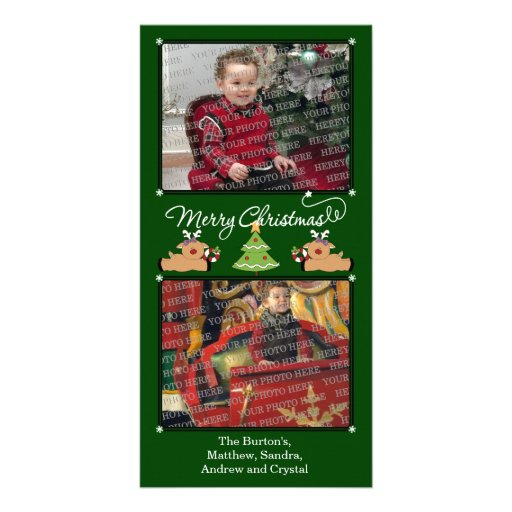 Merry Christmas Green (Add Your Photos and Text) Custom Photo Card