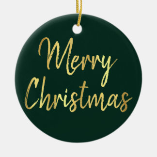 Merry Christmas | Green and Gold Script | Holiday Ceramic Ornament