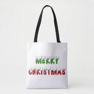 Merry Christmas Green and Red With Snow Tote Bag