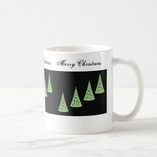 Merry Christmas,Green Christmas trees on black Coffee Mugs