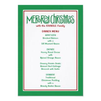 Merry Christmas green Dinner Menu 13 Cm X 18 Cm Invitation Card