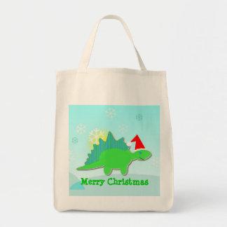 Merry Christmas Green Dinosaur Dino Bag/ Tote Grocery Tote Bag