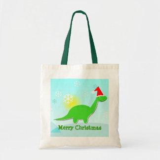 Merry Christmas Green Dinosaur Gift Bag/ Tote Budget Tote Bag