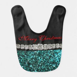 Merry Christmas, Green Glitter, Diamonds Baby Bib