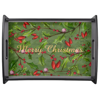 Merry Christmas - Green -Large Serving Tray, Black Serving Tray