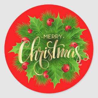 Merry Christmas Green Pine and Holly Red Berries Classic Round Sticker