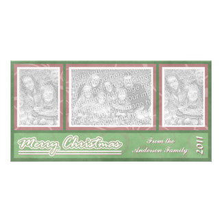 Merry Christmas Green Red Ornate Victorian Custom Picture Card