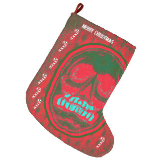Merry Christmas - Green Red Skull Large Christmas Stocking