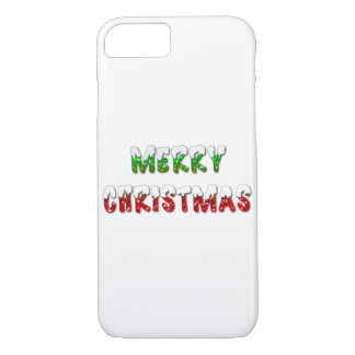 Merry Christmas Green & Red With Snow iPhone Case