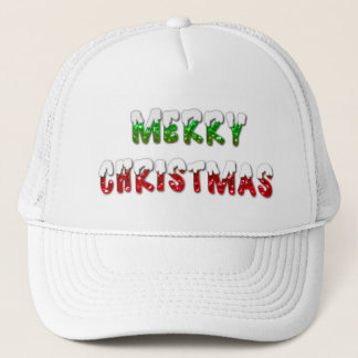 Merry Christmas Green & Red With Snow Trucker Hat