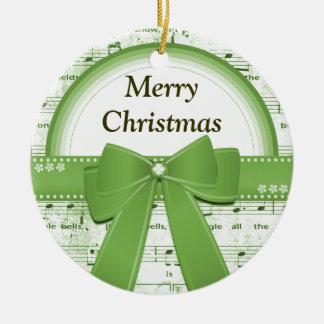 Merry Christmas green ribbon notes ornament