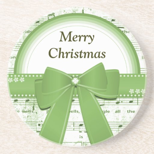 Merry Christmas green ribbon notes round coaster