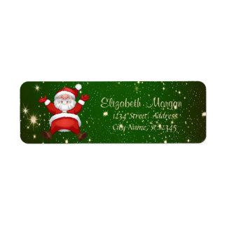 Merry Christmas,Green, Santa Claus Return Address Label