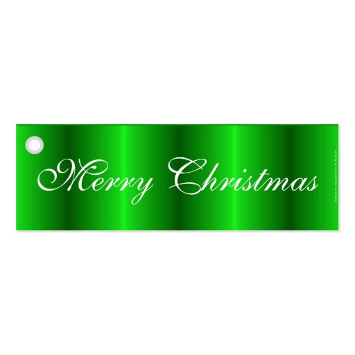 Merry Christmas green satin gift tag Business Cards