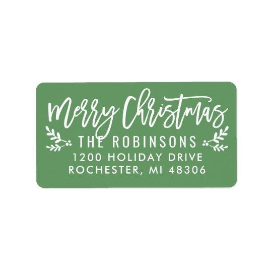 Merry Christmas | Green Script Address Labels