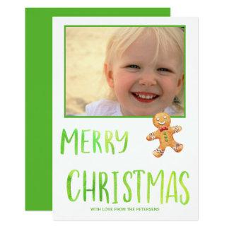 Merry Christmas green script gingerbread photo Card