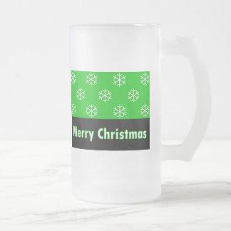 Merry Christmas Green Snow Flake Mugs