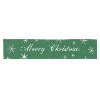 Merry Christmas Green Snowflakes Short Table Runner