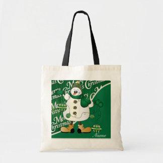 Merry Christmas Green Snowman Budget Tote Bag