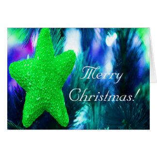 Merry Christmas Green Star I Greeting Card