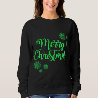 Merry Christmas Green Text Women's Sweatshirt