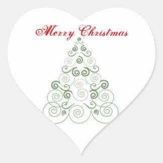 Merry Christmas, green tree of swirls Heart Sticker