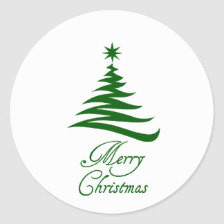 Merry Christmas green tree sticker