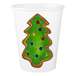 Merry Christmas Green Tree Sugar Cookie Holiday Paper Cup
