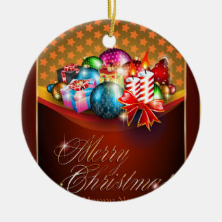 Merry Christmas Greeting Card Ceramic Ornament