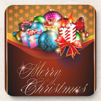 Merry Christmas Greeting Card Coasters