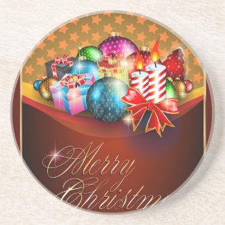 Merry Christmas Greeting Card Sandstone Coaster