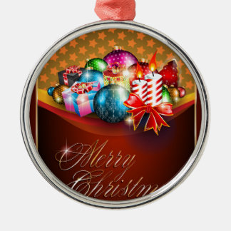 Merry Christmas Greeting Card Silver-Colored Round Decoration