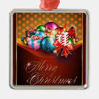 Merry Christmas Greeting Card Silver-Colored Square Decoration