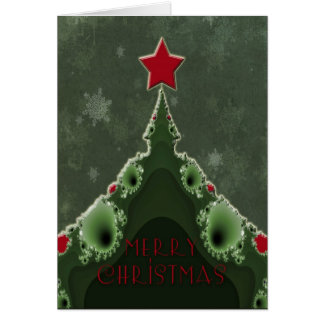 Merry Christmas Greeting - Fractal Tree and Star Card