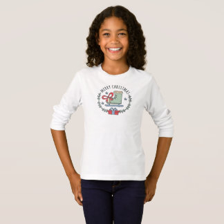 Merry Christmas Greeting Garland Girl's T-Shirt