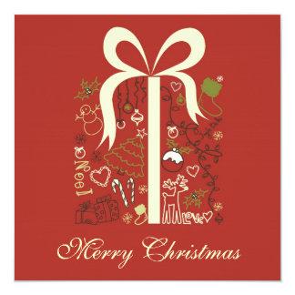 Merry christmas greeting/invitation card 13 cm x 13 cm square invitation card