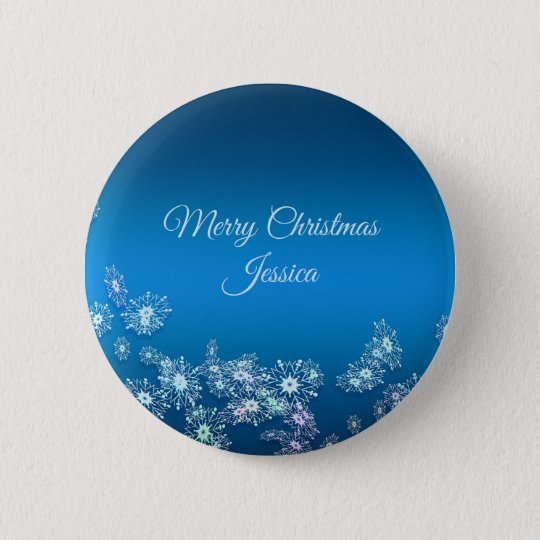 Merry Christmas. Greeting.Name. 6 Cm Round Badge