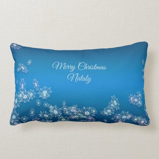 Merry Christmas. Greeting.Name. Lumbar Cushion
