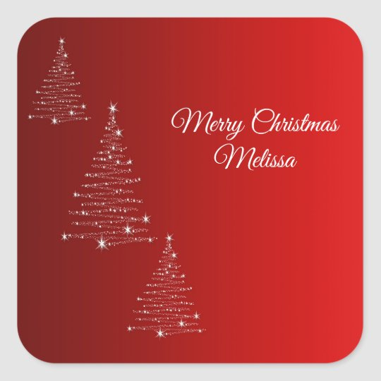 Merry Christmas. Greeting.Name. Square Sticker