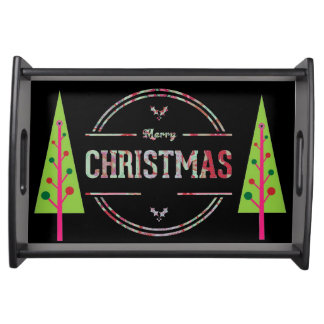 Merry Christmas Greeting Serving Tray