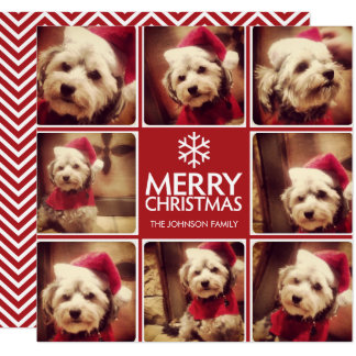Merry Christmas Greeting with 8 photo collage RED Card