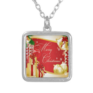 Merry Christmas Greeting With Gifts Silver Plated Necklace